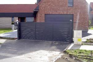 portail en aluminium ajouré, modèle contemporain , lames horizontales Oise 60