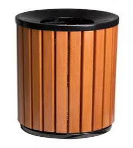 Pose de poubelle pour les collectivité - poubelle en bois et fonte